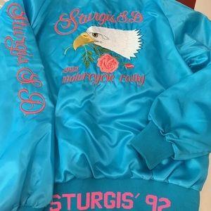 Vintage Sturgis Motorcycle Satin Bomber Jacket